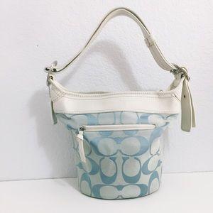 COACH Light Blue Leather Hobo Bucket Bag